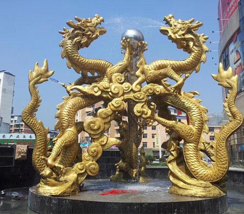 铸铜双龙戏珠雕塑
