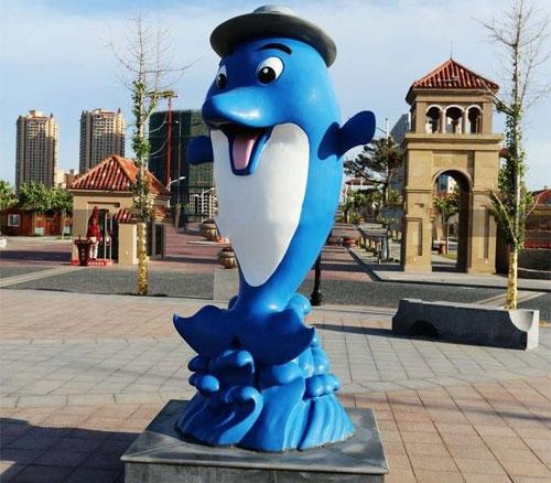 玻璃钢广场海豚摆件雕塑